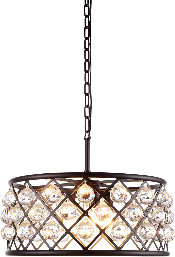 C121-1214D20MB/RC By Elegant Lighting - Madison Collection Mocha Brown Finish 5 Lights Pendant Lamp