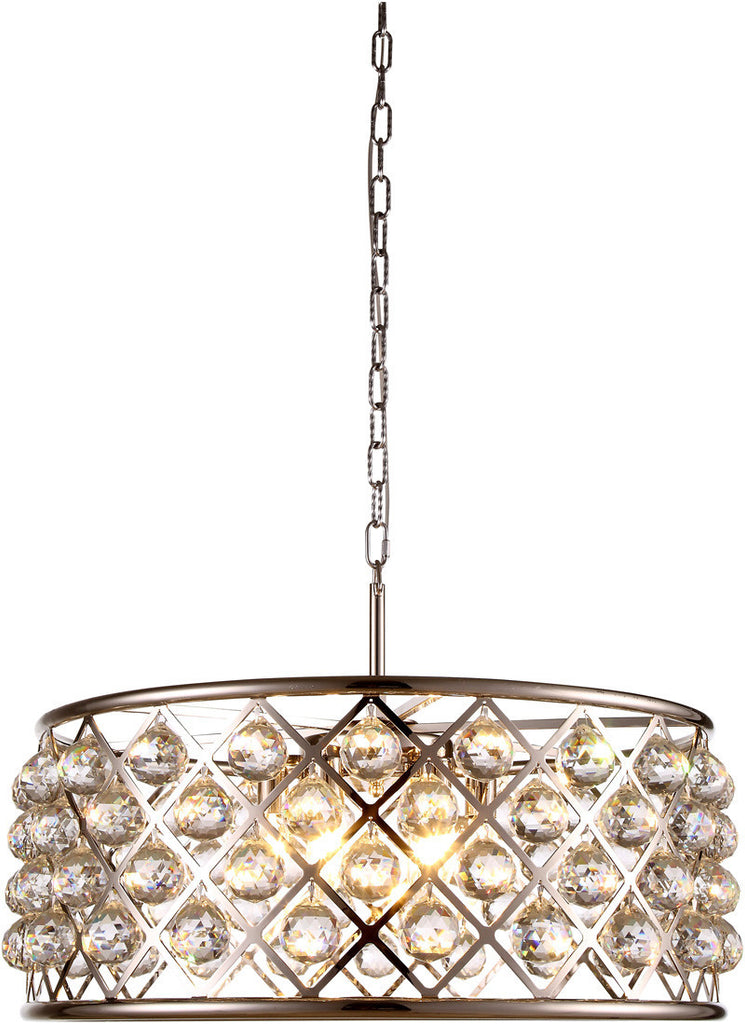 C121-1214D25PN/RC By Elegant Lighting - Madison Collection Polished Nickel Finish 6 Lights Pendant Lamp