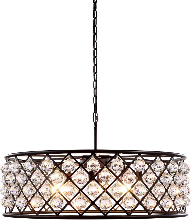 C121-1214D32MB/RC By Elegant Lighting - Madison Collection Mocha Brown Finish 8 Lights Pendant Lamp