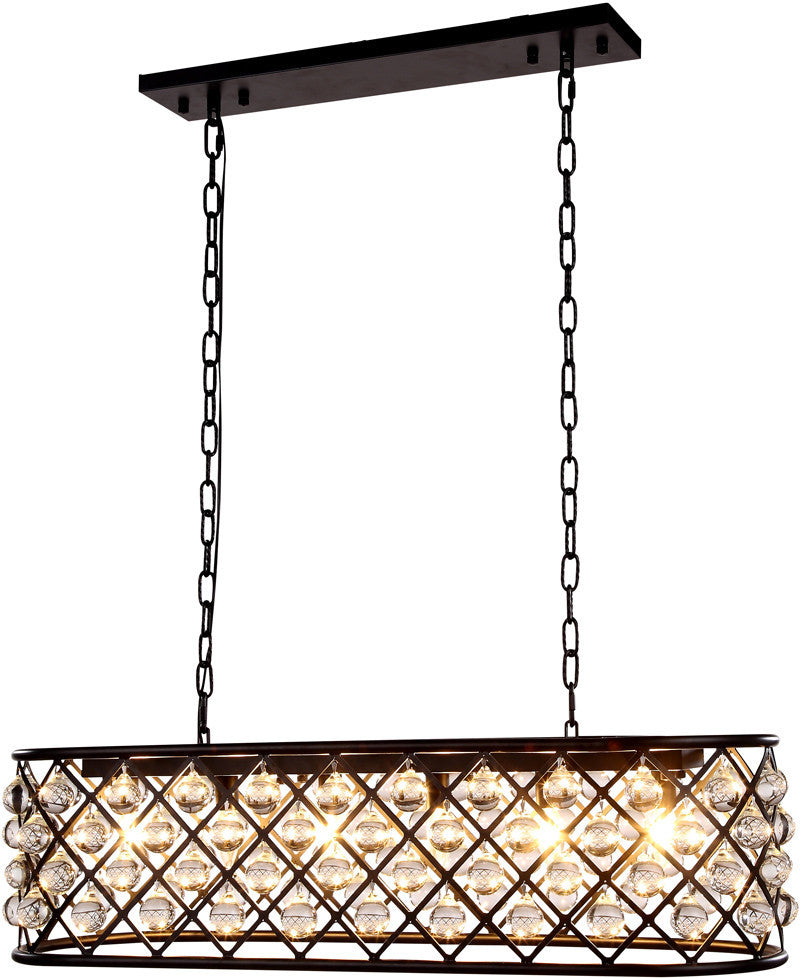 C121-1215G40MB/RC By Elegant Lighting - Madison Collection Mocha Brown Finish 6 Lights Pendant Lamp