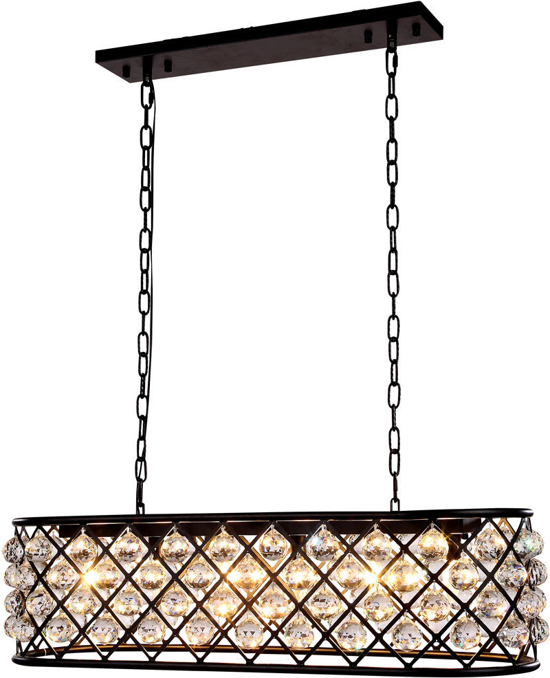 C121-1216G40MB/RC By Elegant Lighting - Madison Collection Mocha Brown Finish 6 Lights Pendant Lamp