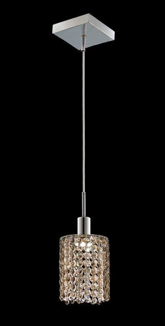 C121-1281D-S-R-GT/RC By Elegant Lighting Mini Collection 1 Lights Pendant Chrome Finish