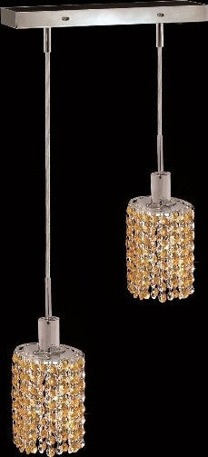 C121-1282D-O-E-LT/RC By Elegant Lighting Mini Collection 2 Lights Pendant Chrome Finish