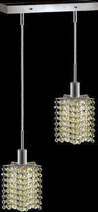 C121-1282D-O-P-LP/RC By Elegant Lighting Mini Collection 2 Lights Pendant Chrome Finish