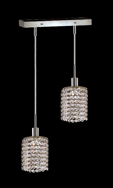 C121-1282D-O-R-CL/RC By Elegant Lighting Mini Collection 2 Lights Pendant Chrome Finish