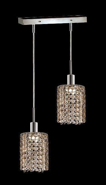 C121-1282D-O-R-GT/RC By Elegant Lighting Mini Collection 2 Lights Pendant Chrome Finish