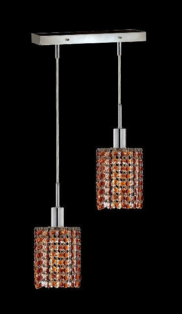 C121-1282D-O-R-TO/RC By Elegant Lighting Mini Collection 2 Lights Pendant Chrome Finish