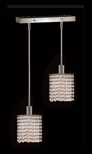 C121-1282D-O-S-CL/RC By Elegant Lighting Mini Collection 2 Lights Pendant Chrome Finish