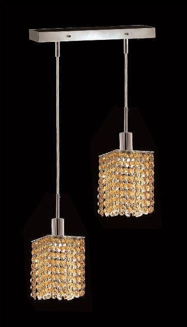 C121-1282D-O-S-LT/RC By Elegant Lighting Mini Collection 2 Lights Pendant Chrome Finish