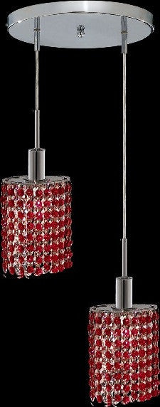 C121-1282D-R-E-BO/RC By Elegant Lighting Mini Collection 2 Lights Pendant Chrome Finish