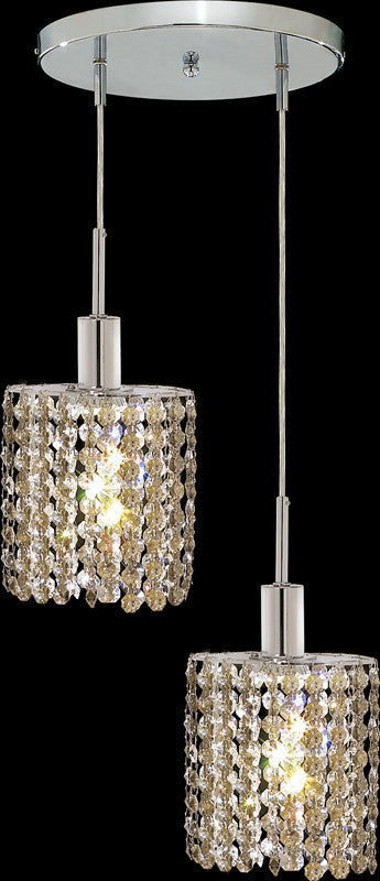 C121-1282D-R-E-GT/RC By Elegant Lighting Mini Collection 2 Lights Pendant Chrome Finish