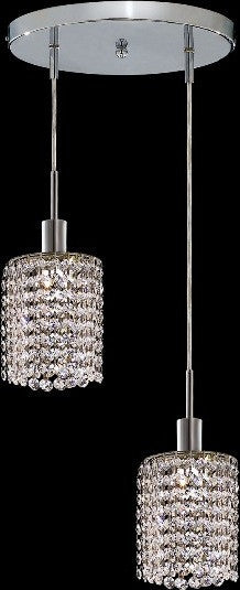 C121-1282D-R-R-CL/RC By Elegant Lighting Mini Collection 2 Lights Pendant Chrome Finish