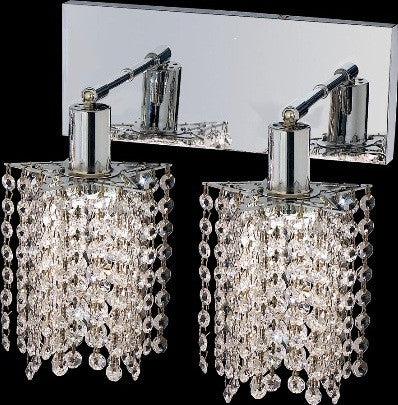 C121-1282W-O-P-CL/RC By Elegant Lighting Mini Collection 2 Lights Wall Sconce Chrome Finish