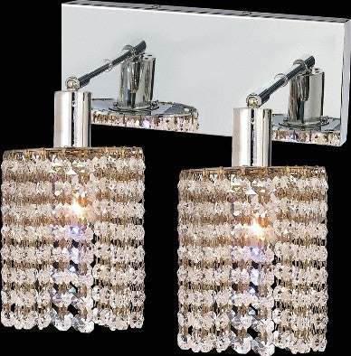 C121-1282W-O-R-CL/RC By Elegant Lighting Mini Collection 2 Lights Wall Sconce Chrome Finish