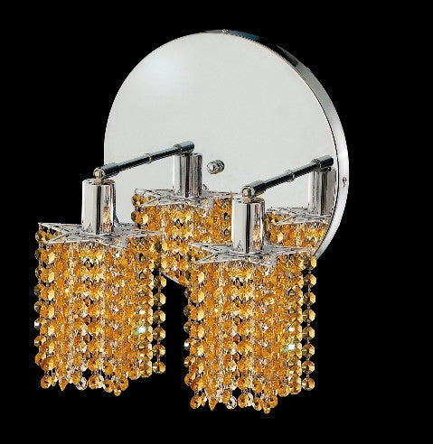 C121-1282W-R-P-LT/RC By Elegant Lighting Mini Collection 2 Lights Wall Sconce Chrome Finish
