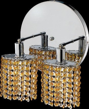 C121-1282W-R-R-LT/RC By Elegant Lighting Mini Collection 2 Lights Wall Sconce Chrome Finish