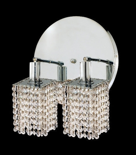 C121-1282W-R-S-CL/RC By Elegant Lighting Mini Collection 2 Lights Wall Sconce Chrome Finish