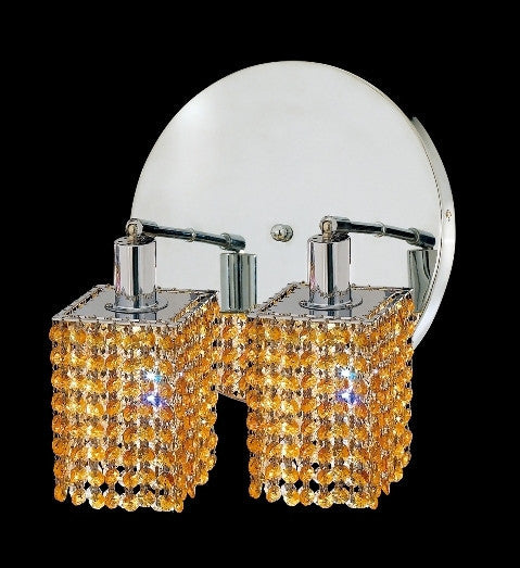 C121-1282W-R-S-LT/RC By Elegant Lighting Mini Collection 2 Lights Wall Sconce Chrome Finish