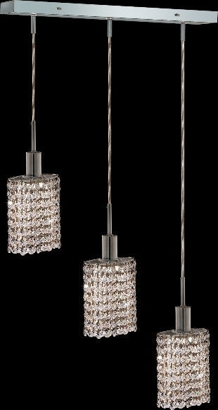 C121-1283D-O-E-CL/RC By Elegant Lighting Mini Collection 3 Lights Pendant Chrome Finish