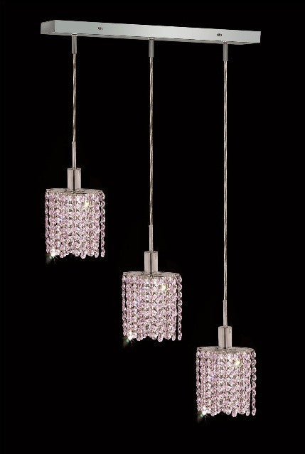 C121-1283D-O-E-RO/RC By Elegant Lighting Mini Collection 3 Lights Pendant Chrome Finish