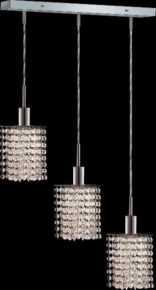 C121-1283D-O-P-CL/RC By Elegant Lighting Mini Collection 3 Lights Pendant Chrome Finish