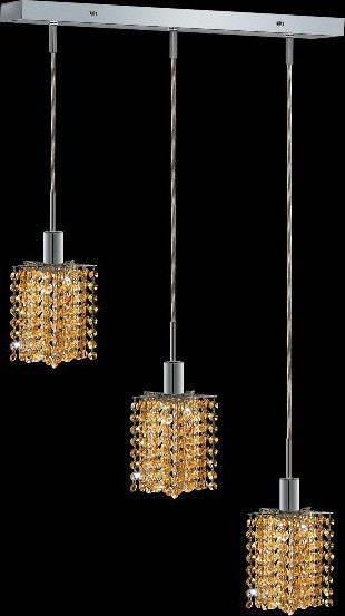 C121-1283D-O-P-LT/RC By Elegant Lighting Mini Collection 3 Lights Pendant Chrome Finish