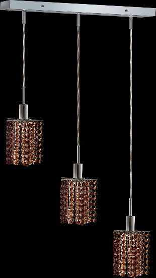 C121-1283D-O-P-TO/RC By Elegant Lighting Mini Collection 3 Lights Pendant Chrome Finish