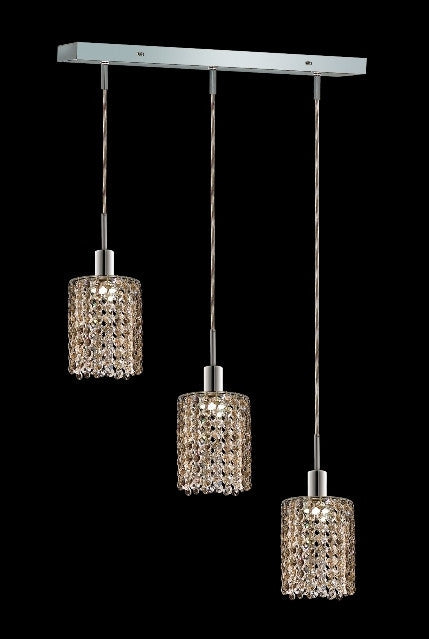 C121-1283D-O-R-GT/RC By Elegant Lighting Mini Collection 3 Lights Pendant Chrome Finish