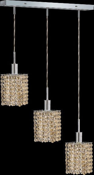 C121-1283D-O-S-GT/RC By Elegant Lighting Mini Collection 3 Lights Pendant Chrome Finish