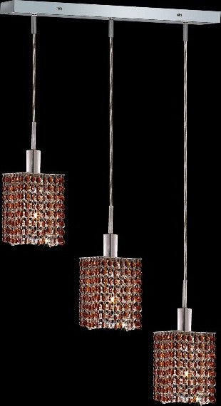 C121-1283D-O-S-TO/RC By Elegant Lighting Mini Collection 3 Lights Pendant Chrome Finish