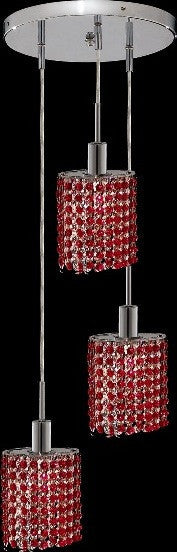 C121-1283D-R-E-BO/RC By Elegant Lighting Mini Collection 3 Lights Pendant Chrome Finish