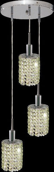 C121-1283D-R-E-LP/RC By Elegant Lighting Mini Collection 3 Lights Pendant Chrome Finish