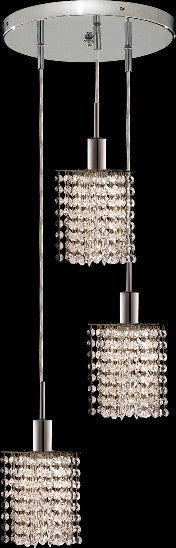 C121-1283D-R-P-CL/RC By Elegant Lighting Mini Collection 3 Lights Pendant Chrome Finish
