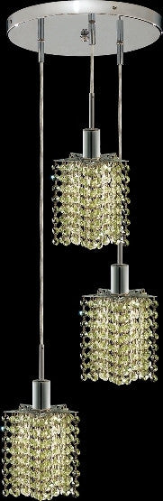 C121-1283D-R-P-LP/RC By Elegant Lighting Mini Collection 3 Lights Pendant Chrome Finish