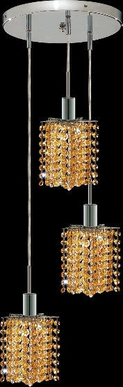 C121-1283D-R-P-LT/RC By Elegant Lighting Mini Collection 3 Lights Pendant Chrome Finish