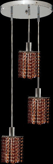 C121-1283D-R-P-TO/RC By Elegant Lighting Mini Collection 3 Lights Pendant Chrome Finish