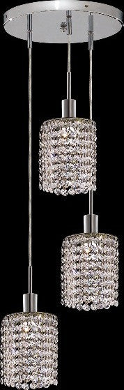 C121-1283D-R-R-CL/RC By Elegant Lighting Mini Collection 3 Lights Pendant Chrome Finish
