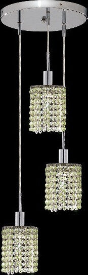 C121-1283D-R-R-LP/RC By Elegant Lighting Mini Collection 3 Lights Pendant Chrome Finish
