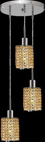 C121-1283D-R-R-LT/RC By Elegant Lighting Mini Collection 3 Lights Pendant Chrome Finish