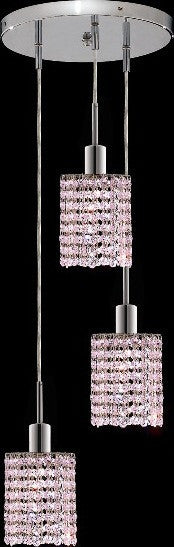 C121-1283D-R-R-RO/RC By Elegant Lighting Mini Collection 3 Lights Pendant Chrome Finish