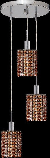 C121-1283D-R-R-TO/RC By Elegant Lighting Mini Collection 3 Lights Pendant Chrome Finish