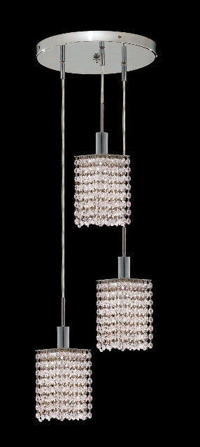 C121-1283D-R-S-CL/RC By Elegant Lighting Mini Collection 3 Lights Pendant Chrome Finish