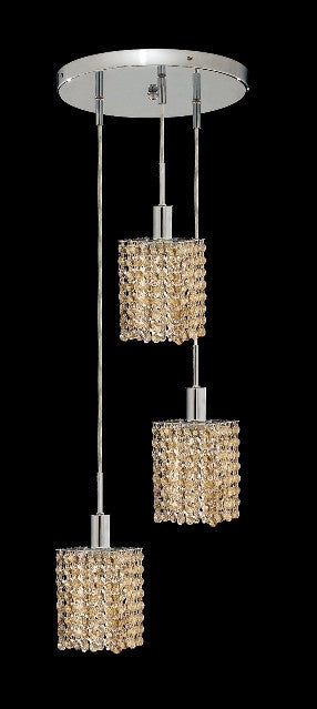 C121-1283D-R-S-GT/RC By Elegant Lighting Mini Collection 3 Lights Pendant Chrome Finish