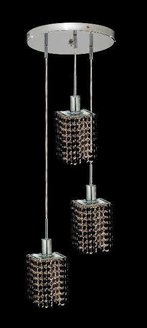 C121-1283D-R-S-JT/RC By Elegant Lighting Mini Collection 3 Lights Pendant Chrome Finish
