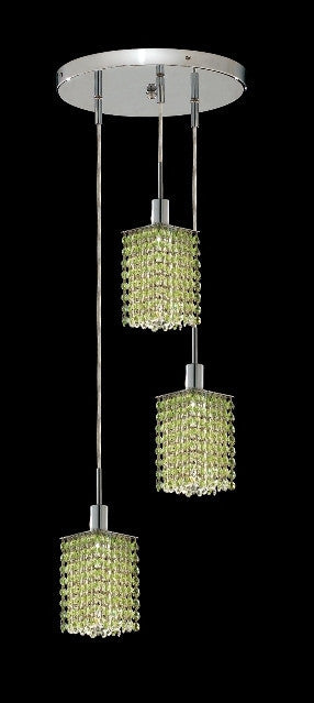 C121-1283D-R-S-LP/RC By Elegant Lighting Mini Collection 3 Lights Pendant Chrome Finish