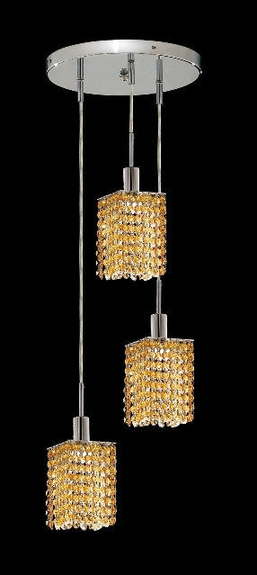 C121-1283D-R-S-LT/RC By Elegant Lighting Mini Collection 3 Lights Pendant Chrome Finish