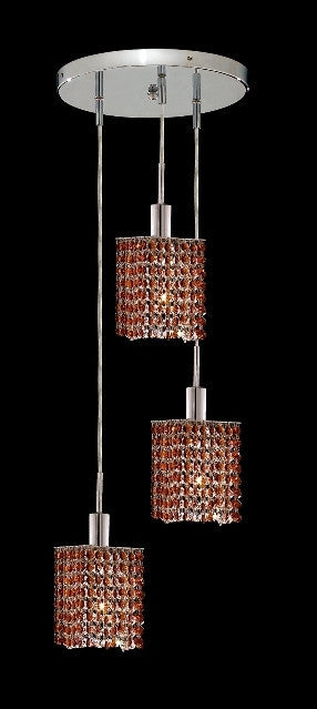 C121-1283D-R-S-TO/RC By Elegant Lighting Mini Collection 3 Lights Pendant Chrome Finish
