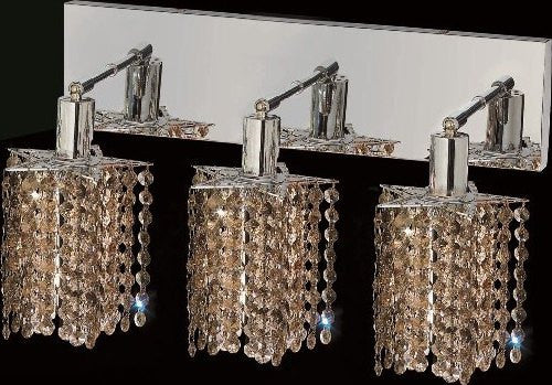 C121-1283W-O-P-GT/RC By Elegant Lighting Mini Collection 3 Lights Wall Sconce Chrome Finish