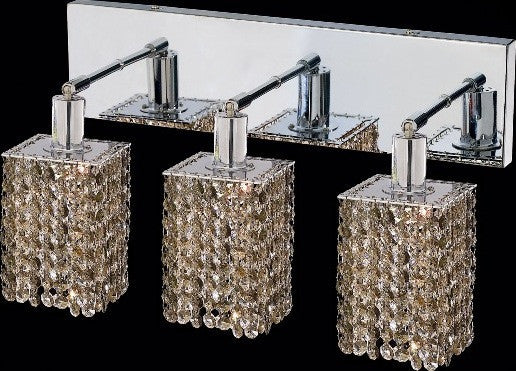 C121-1283W-O-S-GT/RC By Elegant Lighting Mini Collection 3 Lights Wall Sconce Chrome Finish