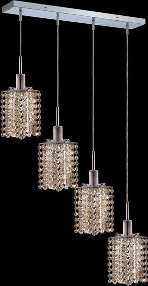 C121-1284D-O-P-GT/RC By Elegant Lighting Mini Collection 4 Lights Pendant Chrome Finish
